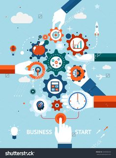 Conceptual Vector Illustration Of A Business And Entrepreneurship Business Start Or Launch With Gears And Cogs With Various Icons For Industry And Business Held By Hands One Pushing The Start Button - 203506555 : Shutterstock