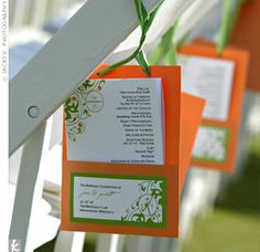 LOVE THIS IDEA - hanging the wedding invites on the back of the chairs in front of the guests!! REALLY AWESOME!!     Orange pockets hung from the ceremony chairs and contained booklets detailing the day's events. The swirl design was inspired by a Vera Wang pattern Jane saw in a magazine.