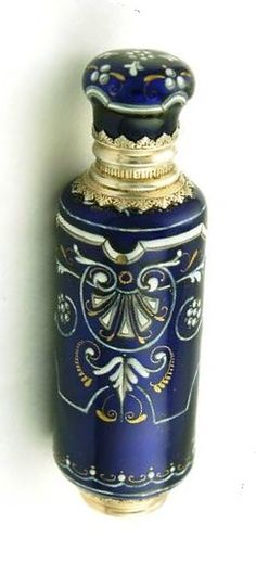 Antique Limoges Enamel & Silver Scent/Perfume Bottle circa.1838 - 1860. Height 10 cm (4 inches)