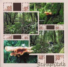 Scrapilde-Pagina 10 uit album 'puzzlewood', bestaande uit 5 (voorgesneden) pagina's voor en achterkant bewerkt, gabarit brussel-mexico, kijk voor de ganse serie op mijn blog !