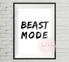 Beast mode, gym print, work out, healthy, wall art, gym decor, home decor, art, motivation, inspiration, https://www.etsy.com/ca/listing/516848385/beast-mode-inspirational-motivational