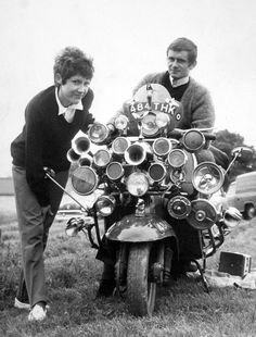 Mods Roy Young and Linda Jarvis with their Vespa scooter, 1964.
