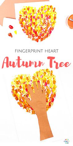Arty Crafty Kids Craft Ideas for Kids Fingerprint Heart Autumn Tree Craft for Kids, with a template included Easy Fall Crafts, Crafts For Kids To Make, Craft Activities For Kids, Preschool Crafts, Fun Crafts, Craft Ideas, Autumn Art Ideas For Kids, Quick Crafts, Craft Art