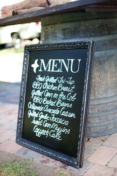 chalkboard menu sign