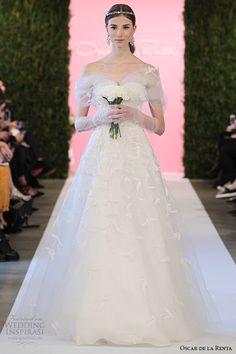Oscar de la Renta #bridal 2015 collection: Charlotte white tulle A-line taffeta embroidery #wedding dress #weddinggown #weddingdress