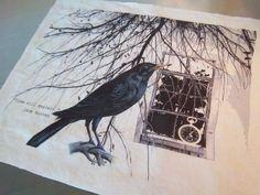 Crow fabric panel handmade Jane Austen art journal craft supply  FREE SHIPPING #Handmade