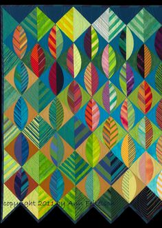 close up, Leaves Fall, c. 2011 by Ann Feitelson. 1st prize, 2011 Road to California; Red ribbon, 2012 Vermont Quilt Festival
