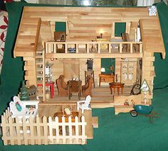 wooden dollhouse for sell | Log-Cabin-Wooden-Dollhouse-With-Furniture-Dishes-And-Extra-patio-or ...