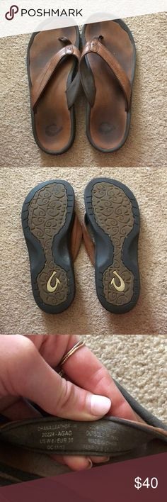 OluKai leather flip flops Moderately worn OluKai flip flops. If you are unfamiliar with the brand, they are from Hawaii and make great quality flip flops. Highly supportive and very comfortable! OluKai Shoes Sandals