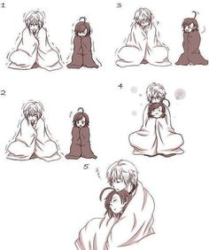 Cute anime couple Cuddling