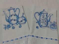 Pano de prato blue work- Tema xícaras e bules R$ 20,00 a unidade