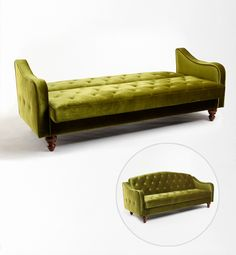 Funky little tufted sofa...and guest bed!