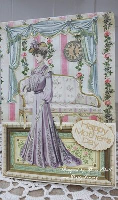 Victorian Afternoon Mother's day card designed by Diane Shull using Anna Griffin products purchased from HSN.