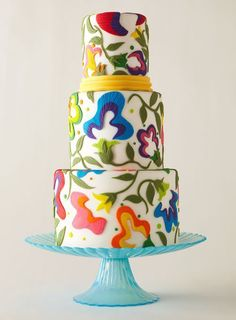 Vibrant Wedding Cakes - fondant multi-color abstract white ivory red blue yellow green orange purple