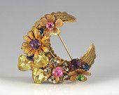 Miriam Haskell Crescent Pin Gold Brass Rhinestone Brooch Flower Heart Signed Designer 50s Pink Yellow Purple Valentines Vintage - 2588