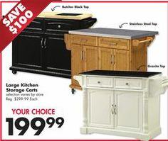 View White Granite Top Kitchen Cart Deals at Big Lots | Kitchen ...