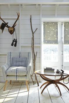 Calmsden Armchair in Lapland Stripe - Duck Egg / Cornflower