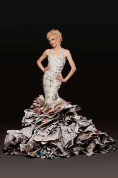 Wardrobe stylist Jennifer Lynn of Anomalous Designs hand-created each and every one of these incredible newsprint dresses