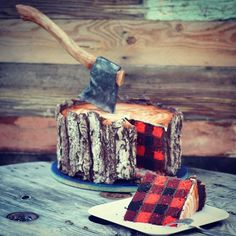 I'm a lumberjack and I'm OK I sleep all night and eat cake all day. This awesome Lumberjack Tree Trunk Cake, featuring an edible axe and red checked plaid cake, is the mouthwatering creation of. Pretty Cakes, Cute Cakes, Beautiful Cakes, Amazing Cakes, Yummy Cakes, Lumberjack Cake, Lumberjack Wedding, Flannel Wedding, Fancy Cakes