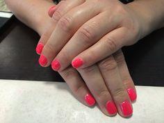 Neon pink nails done in salon ph 085 2052600 for apt or www.jennifersalonclonmel.com