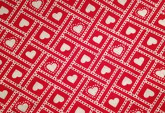 VALENTINE'S DAY Fabric - White Hearts & Dots in Boxes