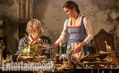 Kevin Kline as Maurice and Emma Watson as Belle in Disney's live action remake of Beauty and the Beast
