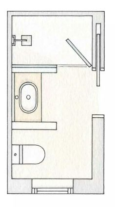 Modify this one 8x11 bathroom floor plan with double bowl for 7x9 bathroom design