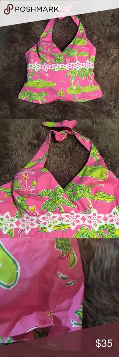 LILLY PULIZTER Flamingo Print Halter top 8 Gently used. No flaws. Comes from pet free and smoke free home. Lilly Pulitzer Tops Tank Tops