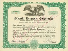 Piasecki Helicopter Corporation State of #Pennsylvania, 1 May 1946, 16,128 Shares á US-$ 1, #23, 21 x 27.8 cm, green, black, white, folds, pen cancelled, issued to Laurance S. Rockefeller, signed by Frank Piasecki as President. A rarity!