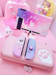 Kawaii Games, Nintendo Switch Accessories, Gaming Room Setup, Kawaii Room, Game Room Design, Gamer Room, Girly Things, Kawaii Things, Videogames