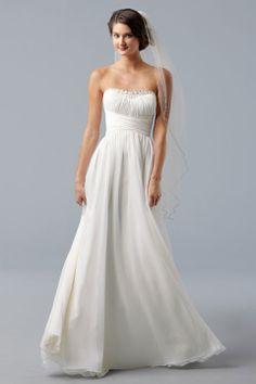 Pretty a-line empire waist chiffon wedding dress, just found my wedding dress!!!