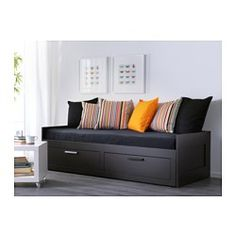 IKEA - BRIMNES, Day-bed frame with 2 drawers, , Four functions in one - seating, bed for one, bed for two and two big drawers for storage.