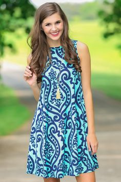 Art of Magic Turquoise Print Dress at reddressboutique.com