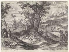 Aegidius Sadeler   Juli en augustus, Aegidius Sadeler, 1615   Italiaans landschap tijdens de maanden juli en augustus. Centraal staat het hooien en het maaien van het gras(links en het oogsten van het graan (rechts). In het midden zijn enkele landbouwers juist toe aan hun rustpauze. Bovenaan links en rechts de tekens van de zodiak: het sterrenbeeld Leeuw en het sterrenbeeld Maagd.