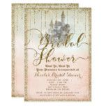 Gold Glitter Storybook Castle Bridal Shower Card