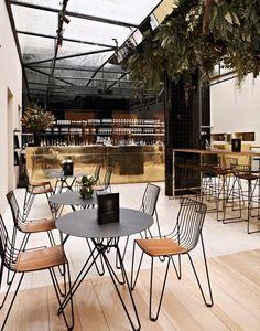 brass sheets brass bar in open air restaurant