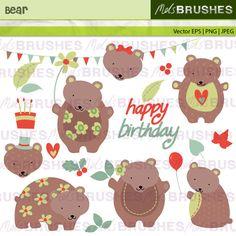 Cute brown bears in