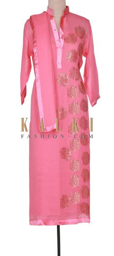 Buy Online from the link below. We ship worldwide (Free Shipping over US$100). Product SKU - 301085. Product Link - http://www.kalkifashion.com/pink-semi-stitched-suit-adorn-in-kundan-embroidery-only-on-kalki.html