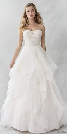 ella rosa spring 2017 bridal strapless semi sweetheart neckline heavily embellished bodice layer skirt romantic a line wedding dress chapel train mv — Ella Rosa Spring 2017 Wedding Dresses 2017 Spring 2017 Wedding Dresses, Dream Wedding Dresses, Bridal Dresses, Wedding Gowns, Beaded Dresses, Spring Weddings, Modest Wedding, Tulle Wedding, Dresses Dresses