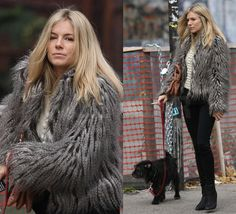 Image detail for -... of Sienna Miller in Fur Jacket and Black Pants Walking Dog in NYC