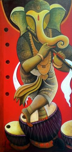 Buy Rhythm Divine 18 artwork number a famous painting by an Indian Artist Anupam Pal. Indian Art Ideas offer contemporary and modern art at reasonable price. Ganesha Drawing, Lord Ganesha Paintings, Ganesha Art, Krishna Painting, Krishna Art, Shri Ganesh, Spiritual Paintings, Shiva Art, Shiva Shakti