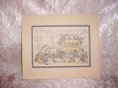 Vtg Anton Pieck Print 1968 New York Omnibus Street Scene Donkey Cart Matted Seller florasgarden on ebay