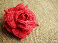 Delicadezas en crochet Gabriela: Rosa en ganchillo