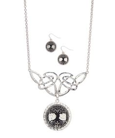 Look at this #zulilyfind! Silvertone Celtic Knot & Tree Of Life Necklace & Earrings #zulilyfinds