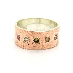 Turmalin Ring gehämmert setzen Rotgold und Silber von Hadas Jewelry auf DaWanda.com