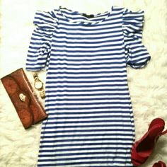 20% off BLUE STRIP NAUTICAL DRESS. Sale till 1/2 Price is firm. Blue n white spandex dress has a cute nautical look to it... it can be worn with flats or any color pumps. NWOT. never been worn. It a meduim but can also fit a large. Dresses Midi