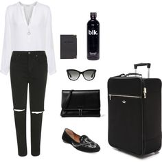 Airport Looks by opiumc on Polyvore featuring mode, iHeart, Topshop, Donald J Pliner, Kate Spade, CHARLES & KEITH, H&M, The Limited, Miu Miu and blackandwhite