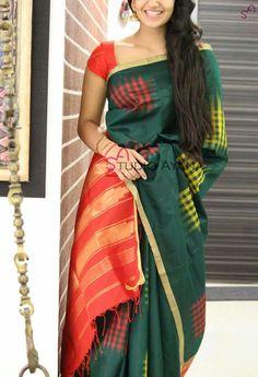 Indian Silk Sarees, Soft Silk Sarees, Indian Beauty Saree, Cotton Saree, Girl Fashion Style, Fashion Outfits, Saree Fashion, Fashion Ideas, Saree Jewellery