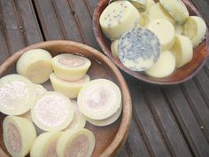 handmade bath melts ... using cocoa butter and sweet almond oil.  About the size of a mini muffin.  Use 40 drops of an essential oil of your choice.