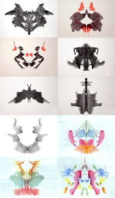 """The 10 cards of the """"Rorschach Test"""", also called  """"inkblot test"""", the most famous projective test created by Hermann Rorschach.  Take the test (unofficially) here."""
